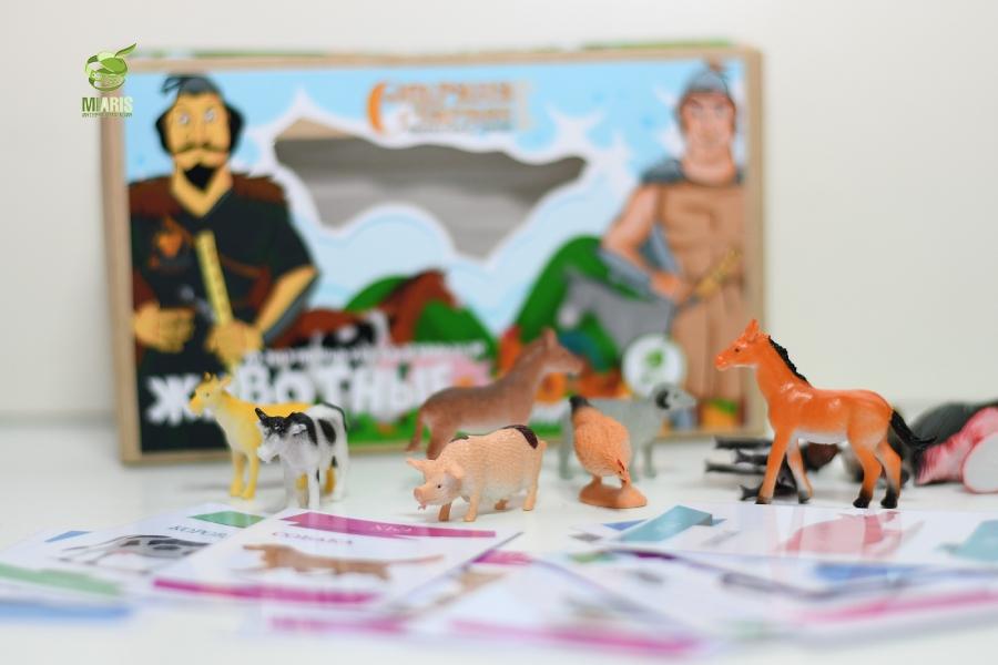 Настольная игра 3D животные и карточки - Развивающий набор с карточками